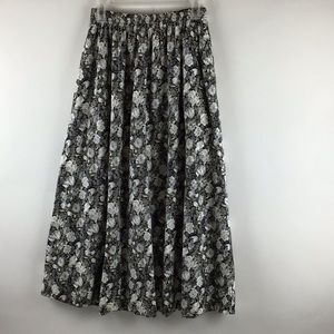 Liz & Co. Floral Gathered Pocketed Cotton Skirt MD